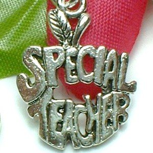 925 STERLING SILVER SPECIAL TEACHER APPLE CHARM / PENDANT