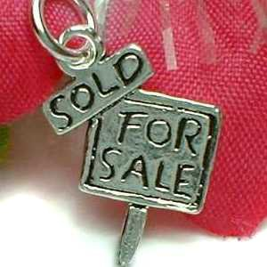925 STERLING SILVER SOLD FOR SALE SIGNAGE CHARM / PENDANT
