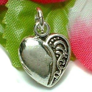 925 STERLING SILVER HEART WITH PATTERN CHARM / PENDANT