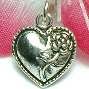 925 STERLING SILVER HEART WITH ROSE CHARM / PENDANT