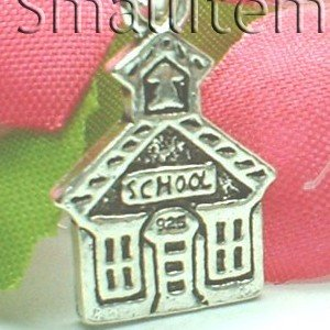 925 STERLING SILVER SCHOOL HOUSE CHARM / PENDANT