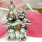 925 STERLING SILVER TWO LITTLE GIRL CHARM / PENDANT