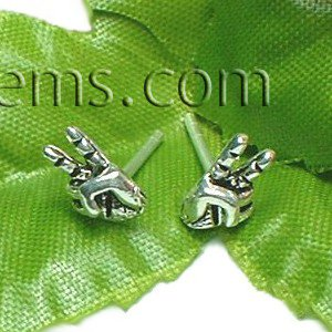 925 STERLING SILVER VICTORY HAND SIGN STUD EARRINGS