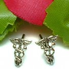 925 STERLING SILVER CADUCEUS STUD EARRINGS