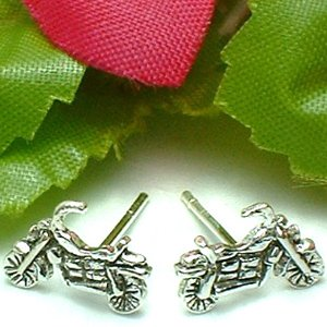925 STERLING SILVER HARLEY DAVIDSON MOTORCYCLE STUD EARRINGS