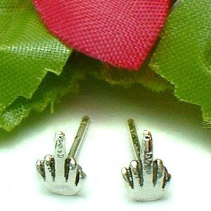925 STERLING SILVER MIDDLE FINGER STUD EARRINGS