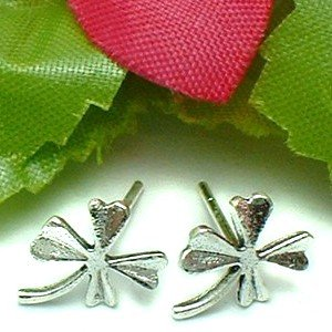 925 STERLING SILVER CLOVER LEAF STUD EARRINGS