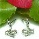 925 STERLING SILVER KING COBRA SNAKE STUD EARRINGS