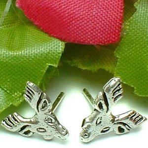 925 STERLING SILVER MOOSE STUD EARRINGS