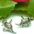 925 STERLING SILVER TRICERATOPS DINOSAUR STUD EARRINGS