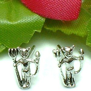 925 STERLING SILVER LUCIFER DEVIL STUD EARRINGS