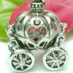 925 STERLING SILVER CINDERELLA PUMPKIN CARRIAGE (OPEN) WITH SHOE CHARM / PENDANT