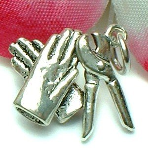 925 STERLING SILVER GLOVES AND PLIERS CHARM / PENDANT