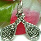 925 STERLING SILVER TENNIS RACKETS AND BALL CHARM / PENDANT