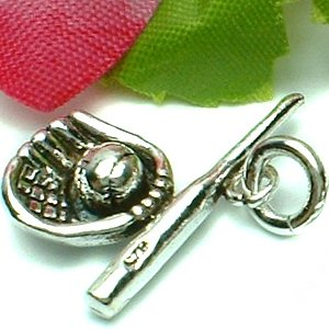 925 STERLING SILVER BASEBALL GLOVE AND BAT CHARM / PENDANT
