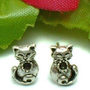 925 STERLING SILVER JEWEL KITTY CAT STUD EARRINGS