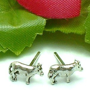 925 STERLING SILVER COW STUD EARRINGS