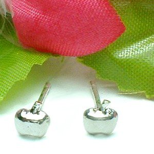 925 STERLING SILVER APPLE STUD EARRINGS