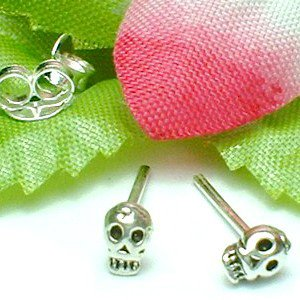 925 STERLING SILVER SKULL STUD EARRINGS