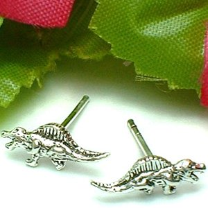 925 STERLING SILVER DIMETRODON DINOSAUR STUD EARRINGS