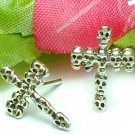 925 STERLING SILVER SKULLS ON CROSS STUD EARRINGS