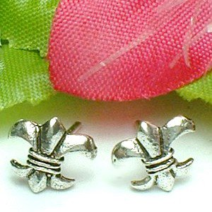 925 STERLING SILVER FLEUR DE LIS STUD EARRINGS