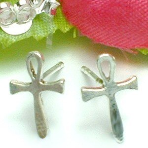 925 STERLING SILVER ANKH STUD EARRINGS