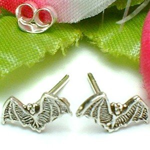 925 STERLING SILVER HALLOWEEN BAT STUD EARRINGS
