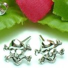 925 STERLING SILVER SKULL CROSSBONES STUD EARRINGS