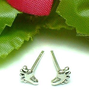 925 STERLING SILVER FOOT PRINTS STUD EARRINGS