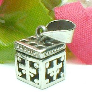 925 STERLING SILVER FILIGREE CROSS PRAYER / PILL BOX PENDANT