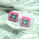 HAND CRAFTED BEADS OF FIMO STAR STUD EARRINGS