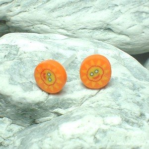 HAND CRAFTED BEADS OF FIMO SUN FACE STUD EARRINGS