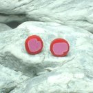 HAND CRAFTED BEADS OF FIMO PINK HEART STUD EARRINGS