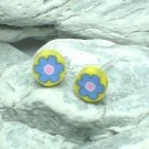 HAND CRAFTED BEADS OF FIMO BLUE FLOWER STUD EARRINGS