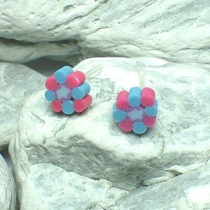 HAND CRAFTED BEADS OF FIMO KALEIDOSCOPE FLOWER STUD EARRINGS