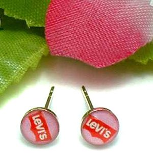 925 STERLING SILVER LEVI'S ACRYLIC TOPCOAT STUD EARRINGS