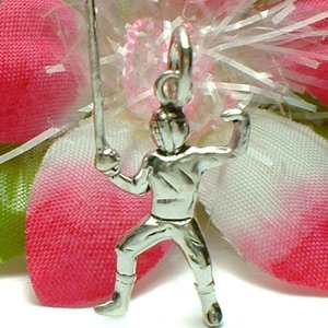 925 STERLING SILVER MALE FENCING FENCER CHARM / PENDANT