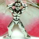 925 STERLING SILVER MUSCLE MAN BODYBUILDER CHARM / PENDANT