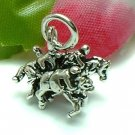 925 STERLING SILVER THREE JOCKEYS RACING HORSES CHARM / PENDANT