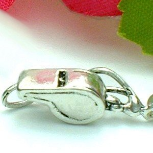 925 STERLING SILVER WHISTLE WITH STRAP CHARM / PENDANT