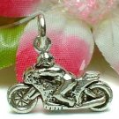 925 STERLING SILVER MOTORCYCLE WITH BIKER CHARM / PENDANT