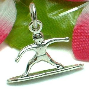 925 STERLING SILVER SURFING MALE SURFER CHARM / PENDANT