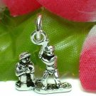 925 STERLING SILVER BASEBALL PLAYERS IN PIT CHARM / PENDANT