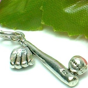 925 STERLING SILVER BASEBALL, BAT AND GLOVE CHARM / PENDANT