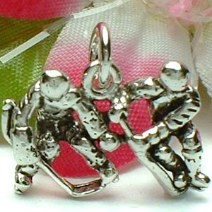 925 STERLING SILVER ICE HOCKEY MALE PLAYERS CHARM / PENDANT