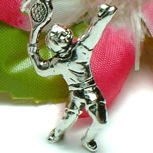 925 STERLING SILVER TENNIS PLAYER WITH RACKET AND BALL CHARM / PENDANT