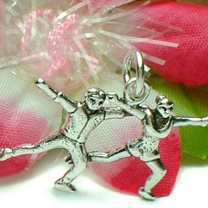925 STERLING SILVER ICE SKATING SKATER COUPLE CHARM / PENDANT