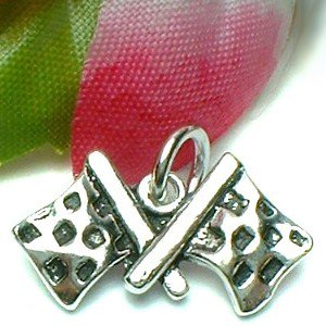 925 STERLING SILVER RACING FLAG CHARM / PENDANT