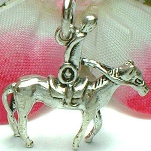 925 STERLING SILVER JOCKEY HORSE RACING CHARM / PENDANT